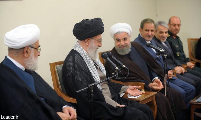 رهبر معظم انقلاب اسلامی در در دیدار رئیسجمهور و اعضای هیأت دولت: لزوم پیگیری و برخورد قاطع دولت با حقوقهای نجومی
